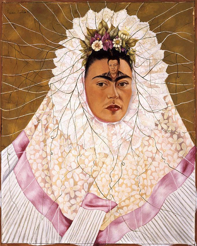 Frida Kahlo. Selbstbildnis als Tehuana oder Diego in meinen Gedanken , 1943 Öl auf Holzfaserplatte 76x61 cm The Jacques and Natasha Gelman Collection of Mexican Art, the Vergel Foundation and the Tarpon Trust © 2017 Banco de México Diego Rivera Frida Kahlo Museums Trust, Mexico, D.F. / Artists Rights Society (ARS), New York